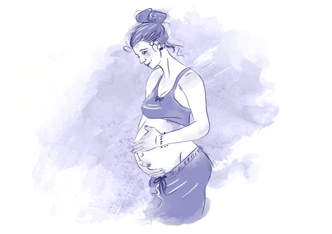 Drawing of a woman gently caressing her baby bump